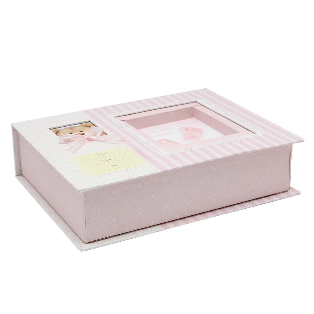 Cutie Pentru Amprenta Copil Cu Rama Foto Roz