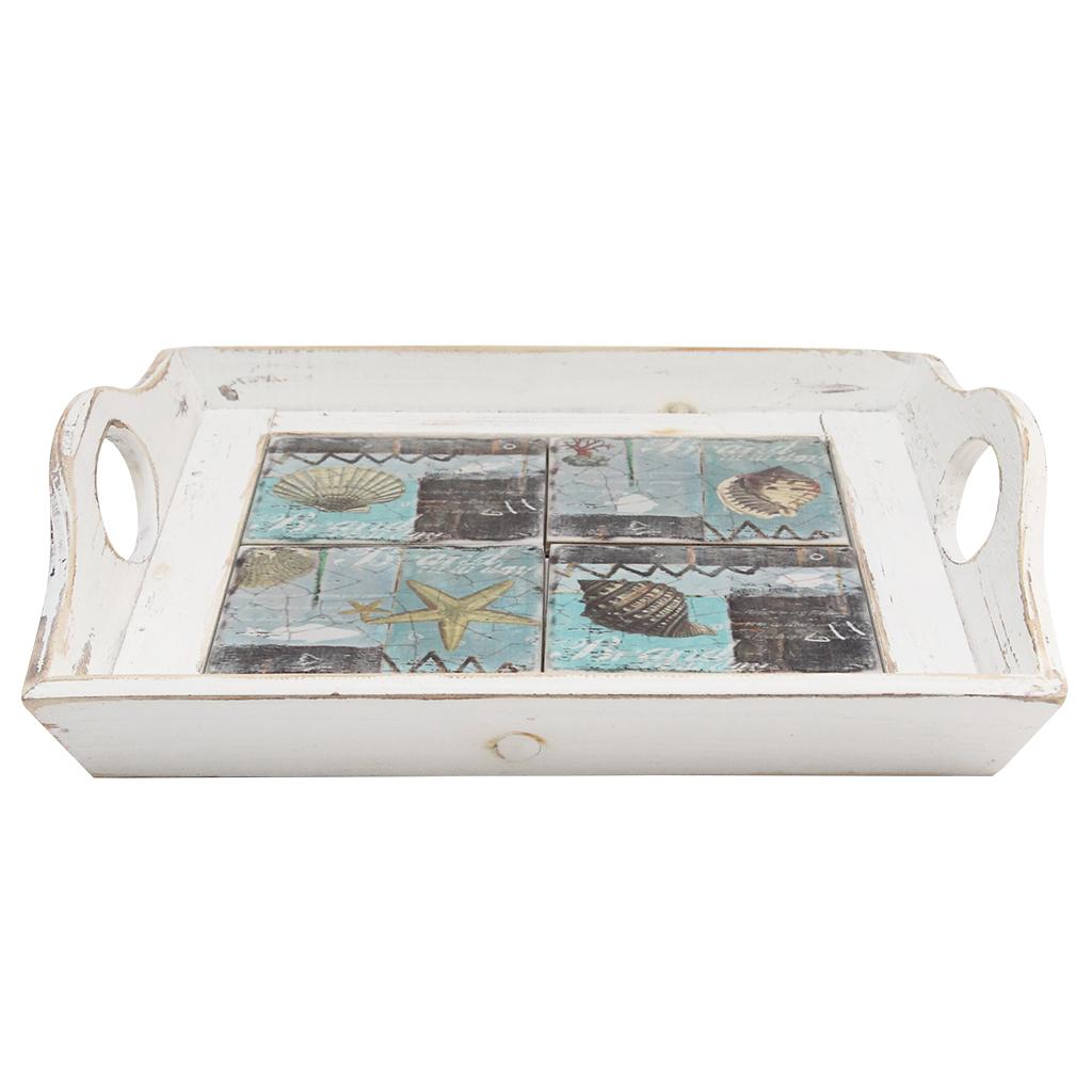 Tava Din Lemn Si Ceramica Cu Scoici 32 Cm