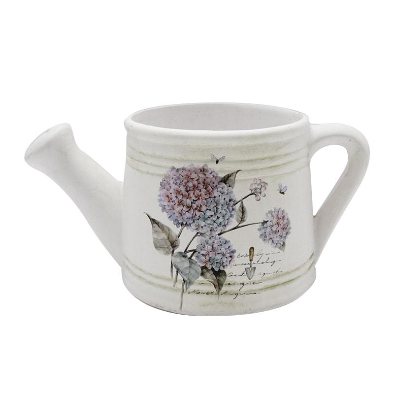 Stropitoare Din Ceramica Alba Cu Hortensie 11 Cm