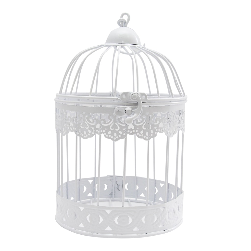 Colivie Decorativa Rotunda Din Metal Alb 24 Cm