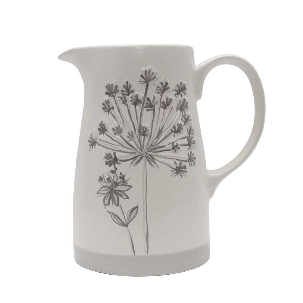 Carafa Din Ceramica Alba Cu Flori Crem 22 Cm