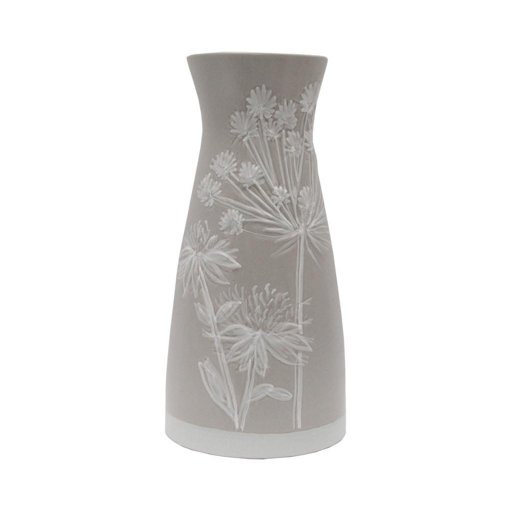 Vaza Din Ceramica Crem Cu Flori Albe 30 Cm