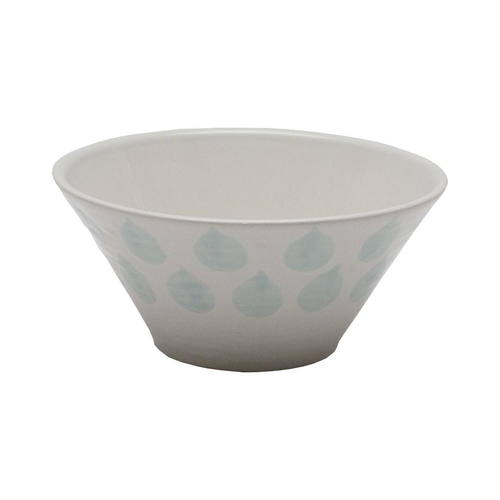 Bol Din Ceramica Alba Cu Picaturi Albastre 17 Cm