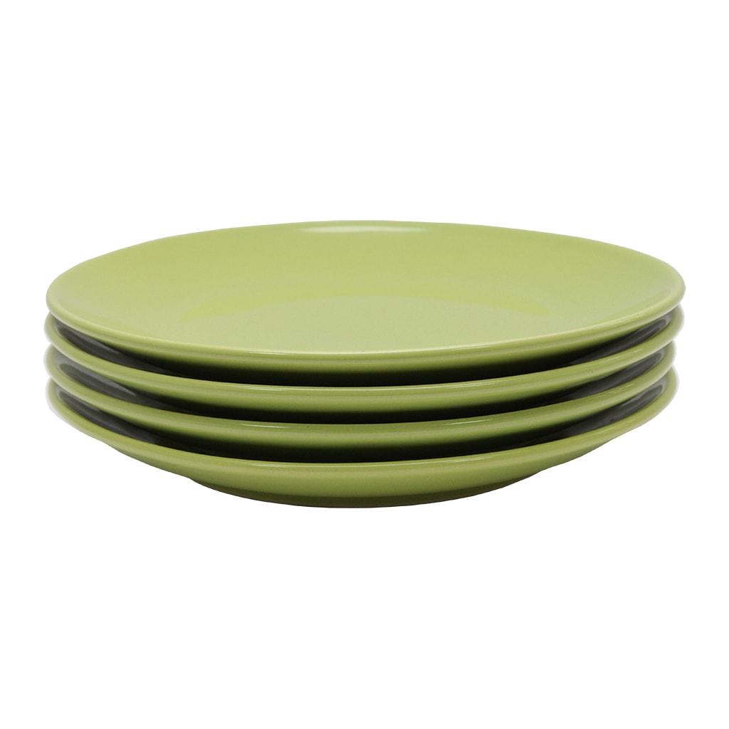 Set Cu 4 Farfurii Intinse Din Ceramica Verde