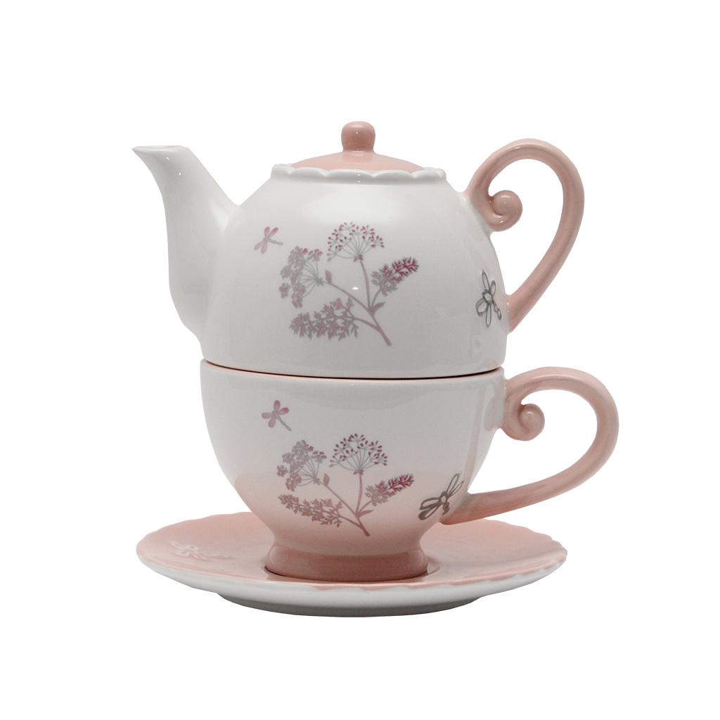 Ceainic Cu Cana Din Ceramica Cu Flori 18 Cm