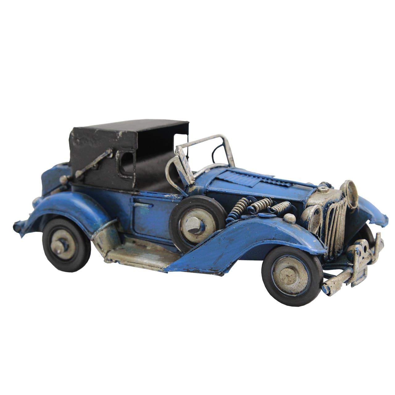 Macheta Masina De Epoca Din Metal Albastru 16x8x6 Cm