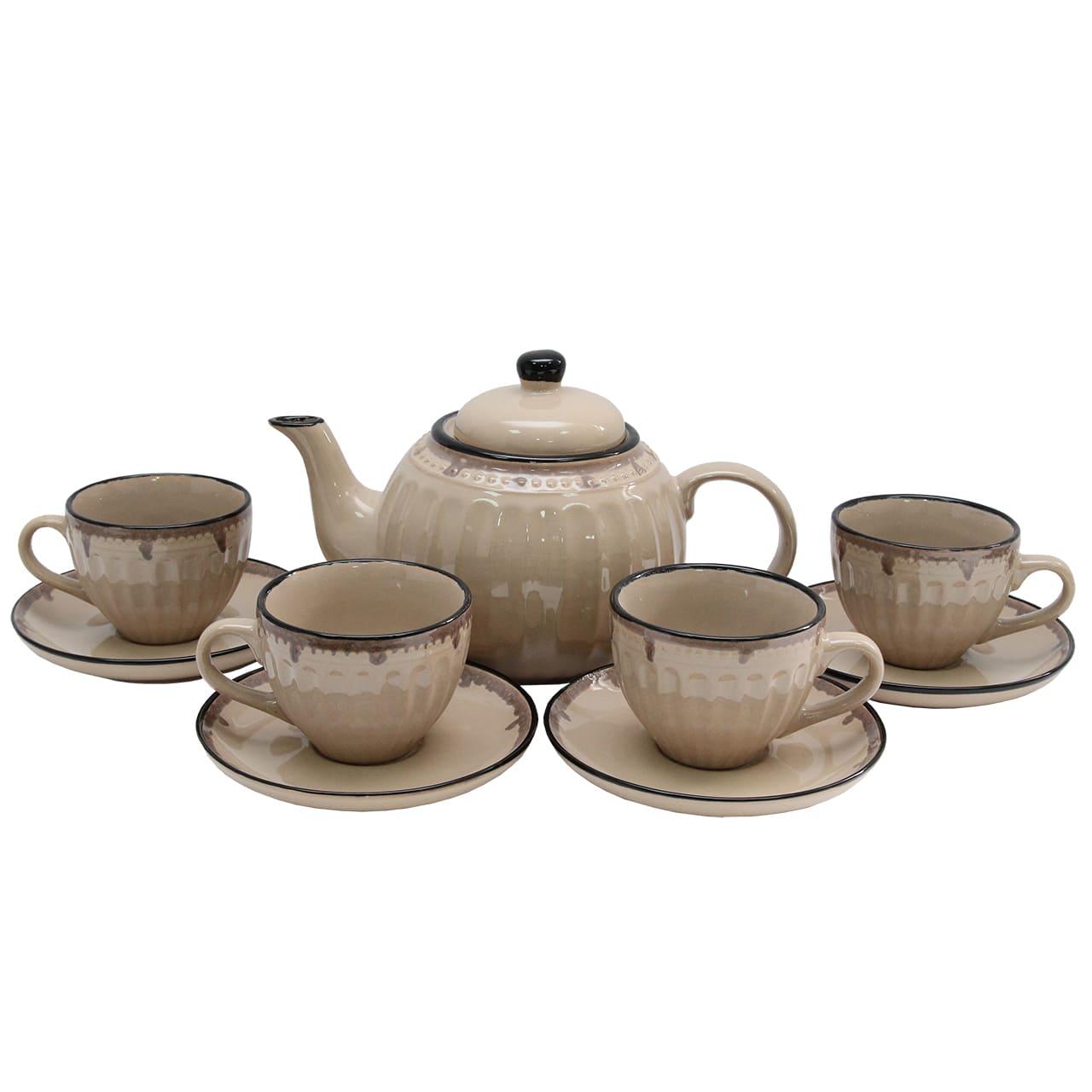 Set Cu Ceainic Si 4 Pahare Din Ceramica Maro