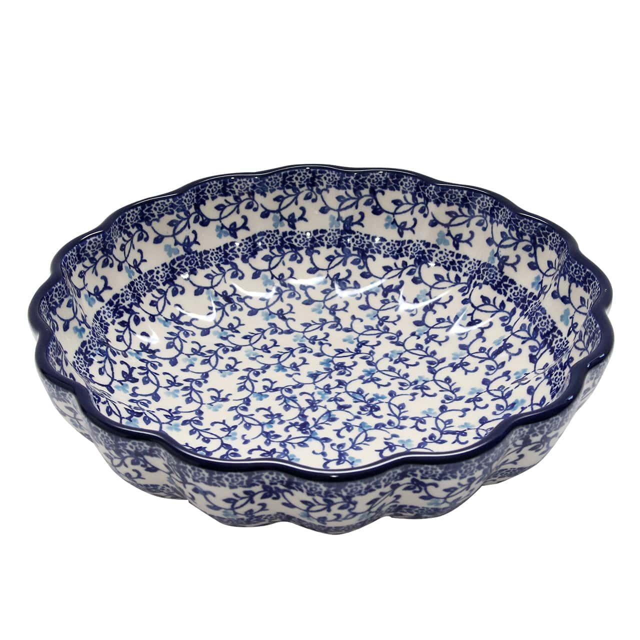Bol Din Ceramica Cu Flori Albastre 23.5 Cm