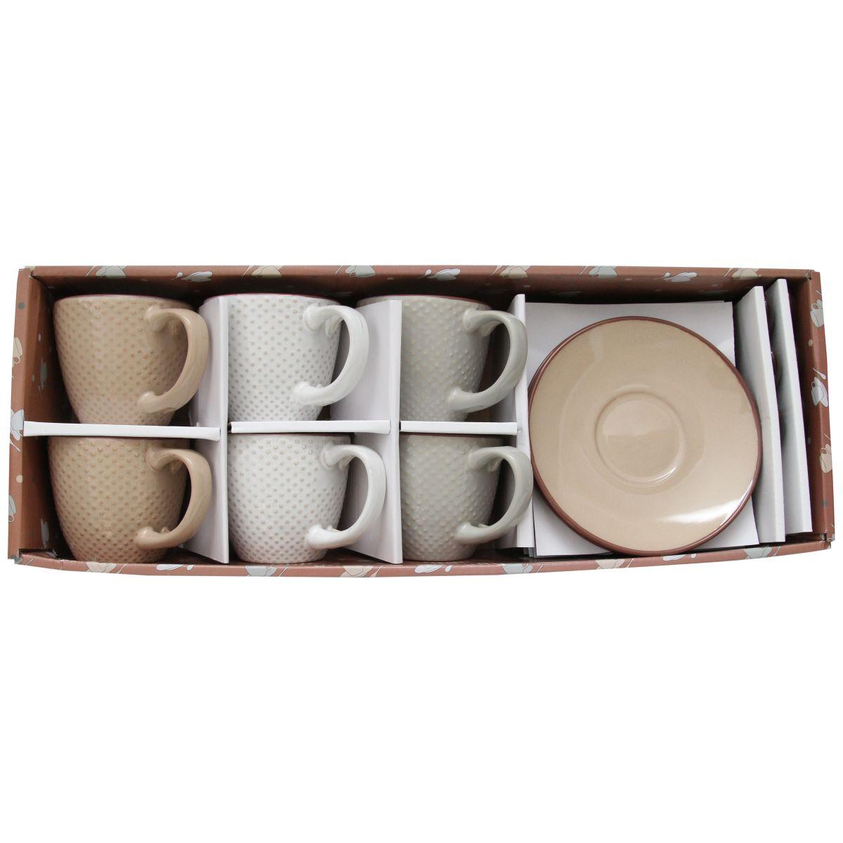 Cutie Cu 6 Cesti Cu Lingurite Si 6 Farfurii Din Ceramica