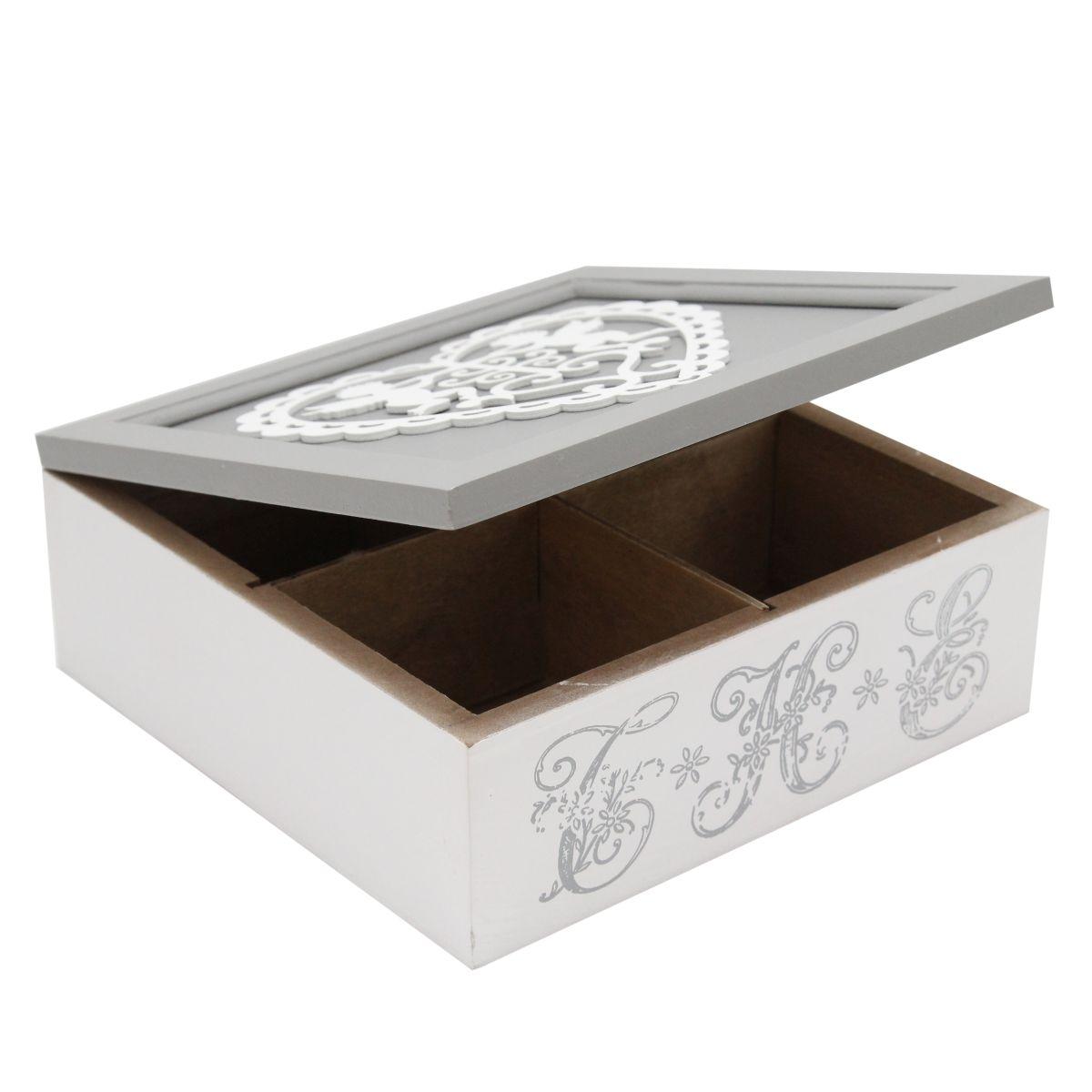 Cutie Pentru Ceai Din Lemn Cu Inimioara 18x18 Cm