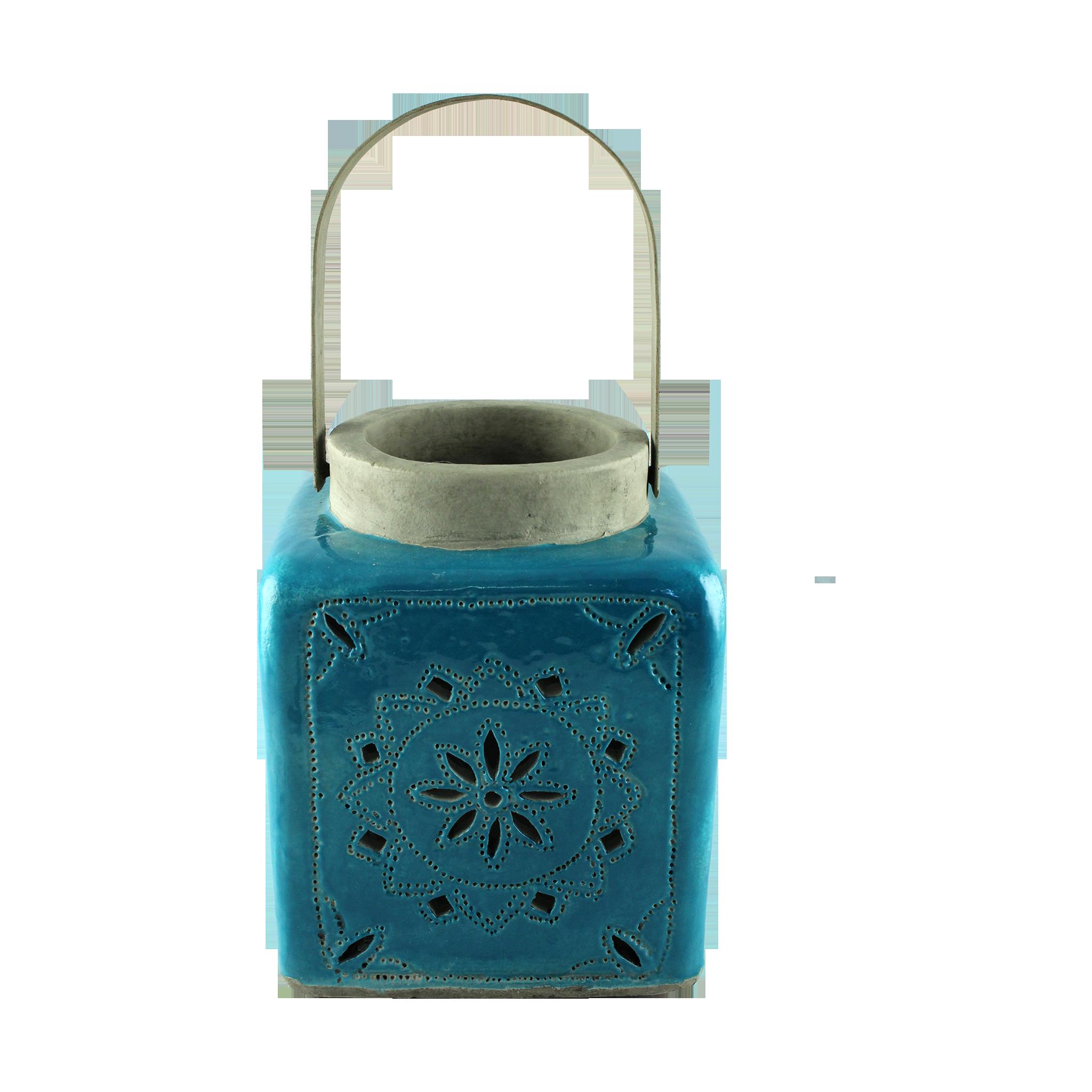 Felinar Cu Maner Din Ceramica Turcoaz