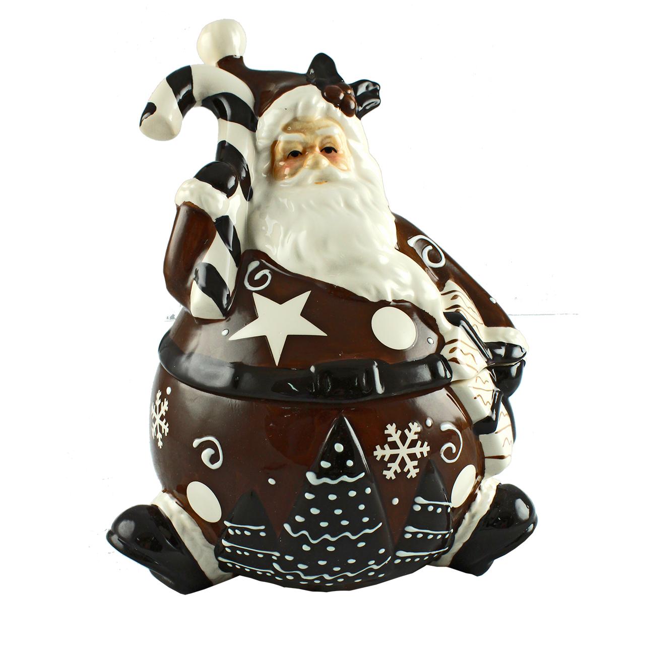 Cutie Decorativa Cu Capac Din Ceramica Maro