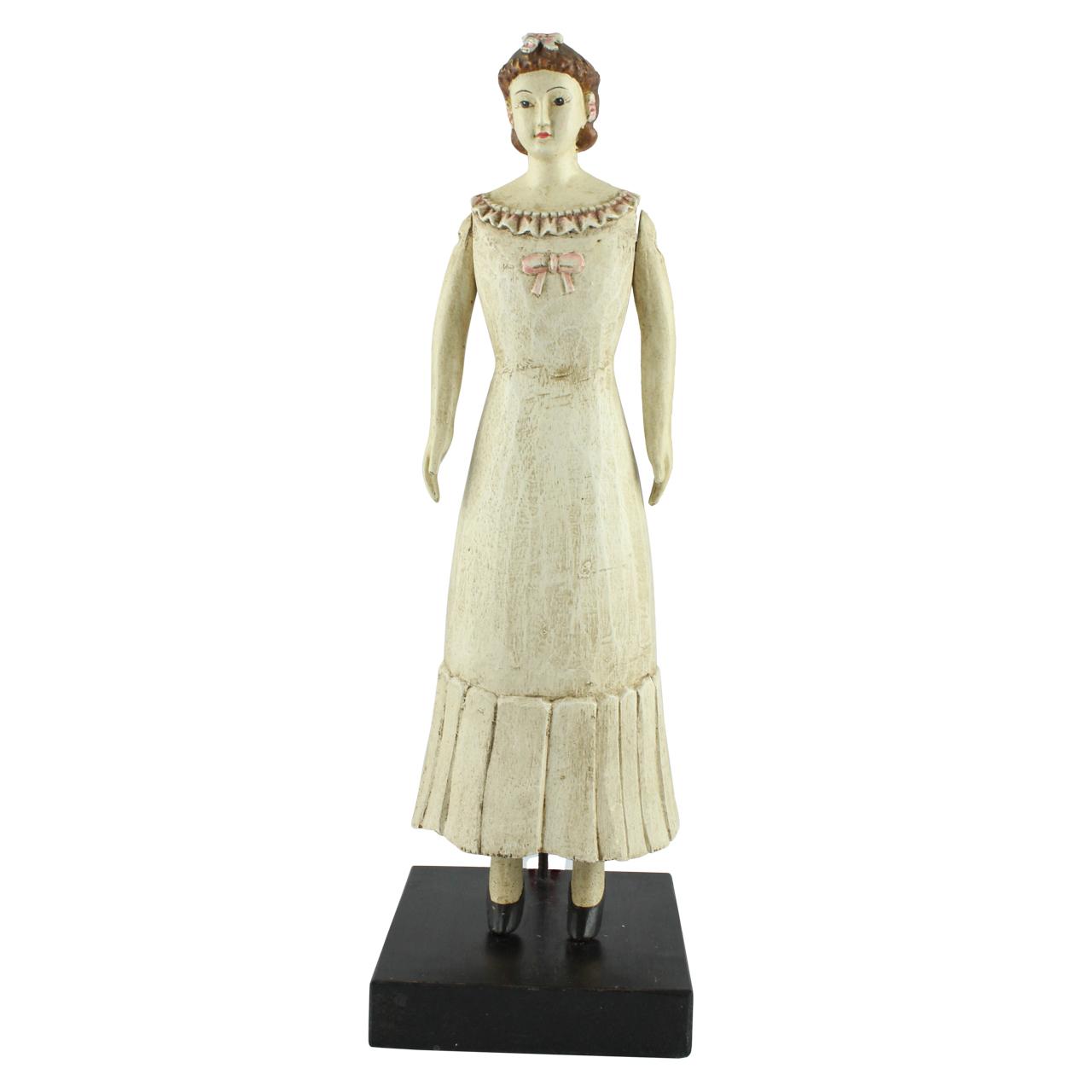 Statueta Lady Din Ceramica Tratata Cu Rasina Crem