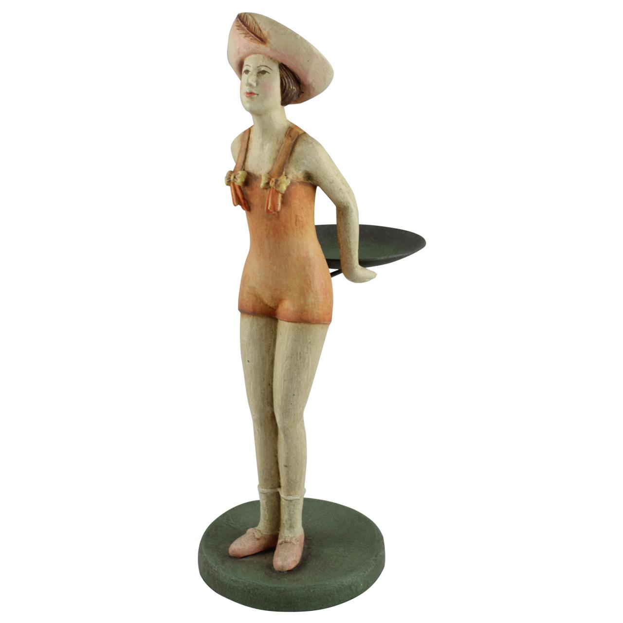 Statueta Lady din ceramica tratata cu rasina bej