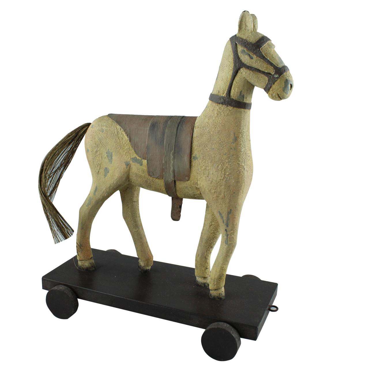 Statueta Cal Din Ceramica Tratata Cu Rasina Crem