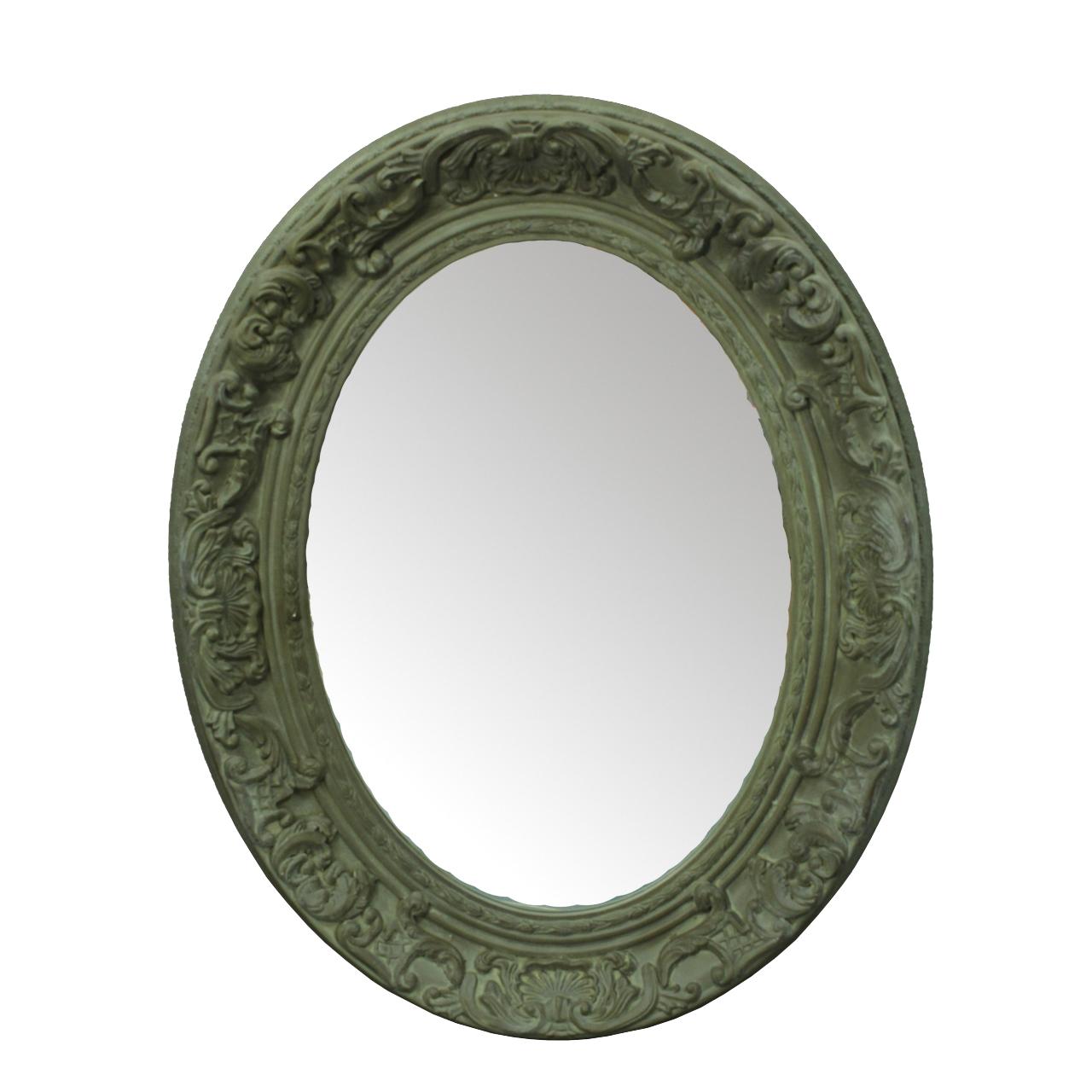 Oglinda Ovala Olivia Cu Rama Din Lemn Sculptat 96x76 Cm