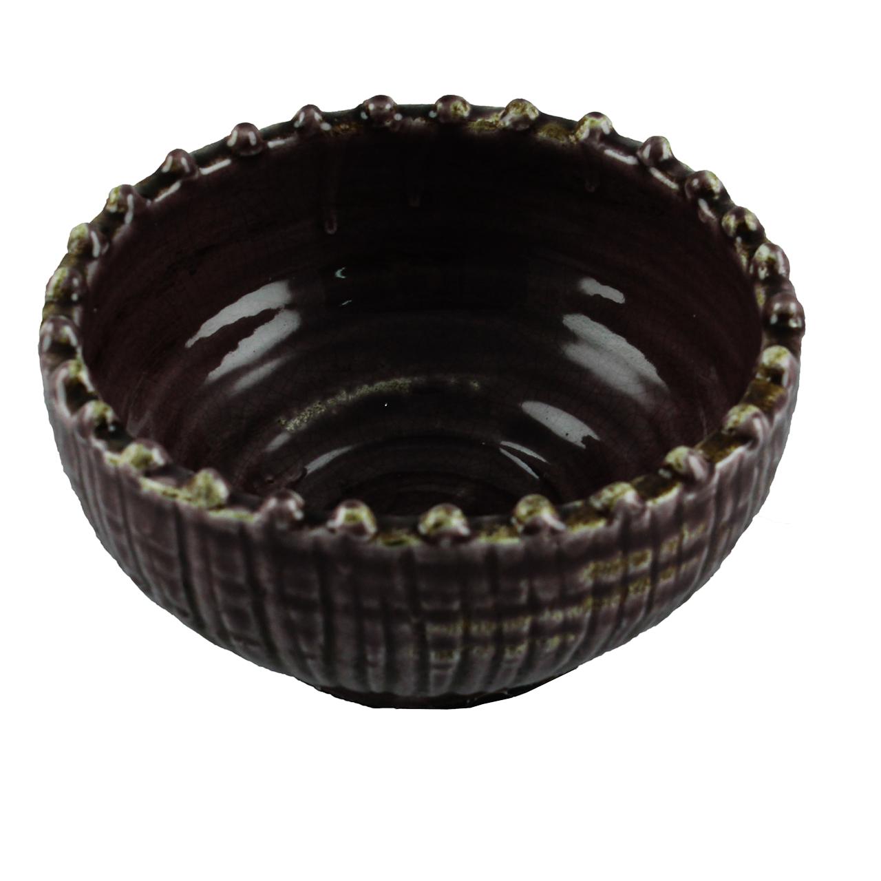 Bol Decorativ Din Ceramica Mov 20 Cm