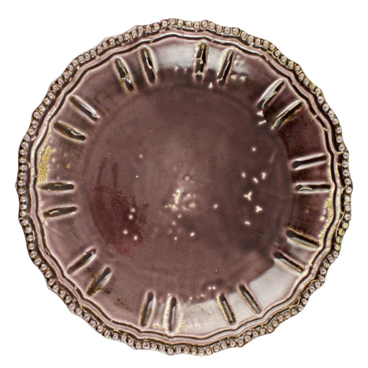 Platou rotund din ceramica mov