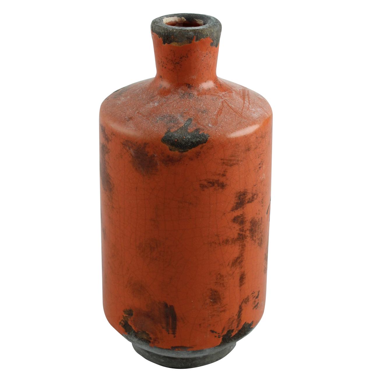 Vaza Cu Gat Din Teracota Portocalie 19.5 Cm
