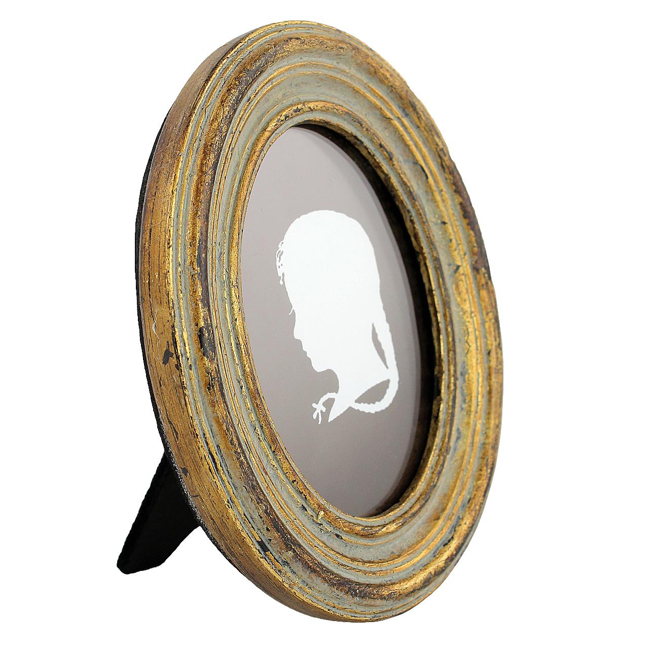 Rama Foto Ovala Din Ceramica Aurie 12x10 Cm