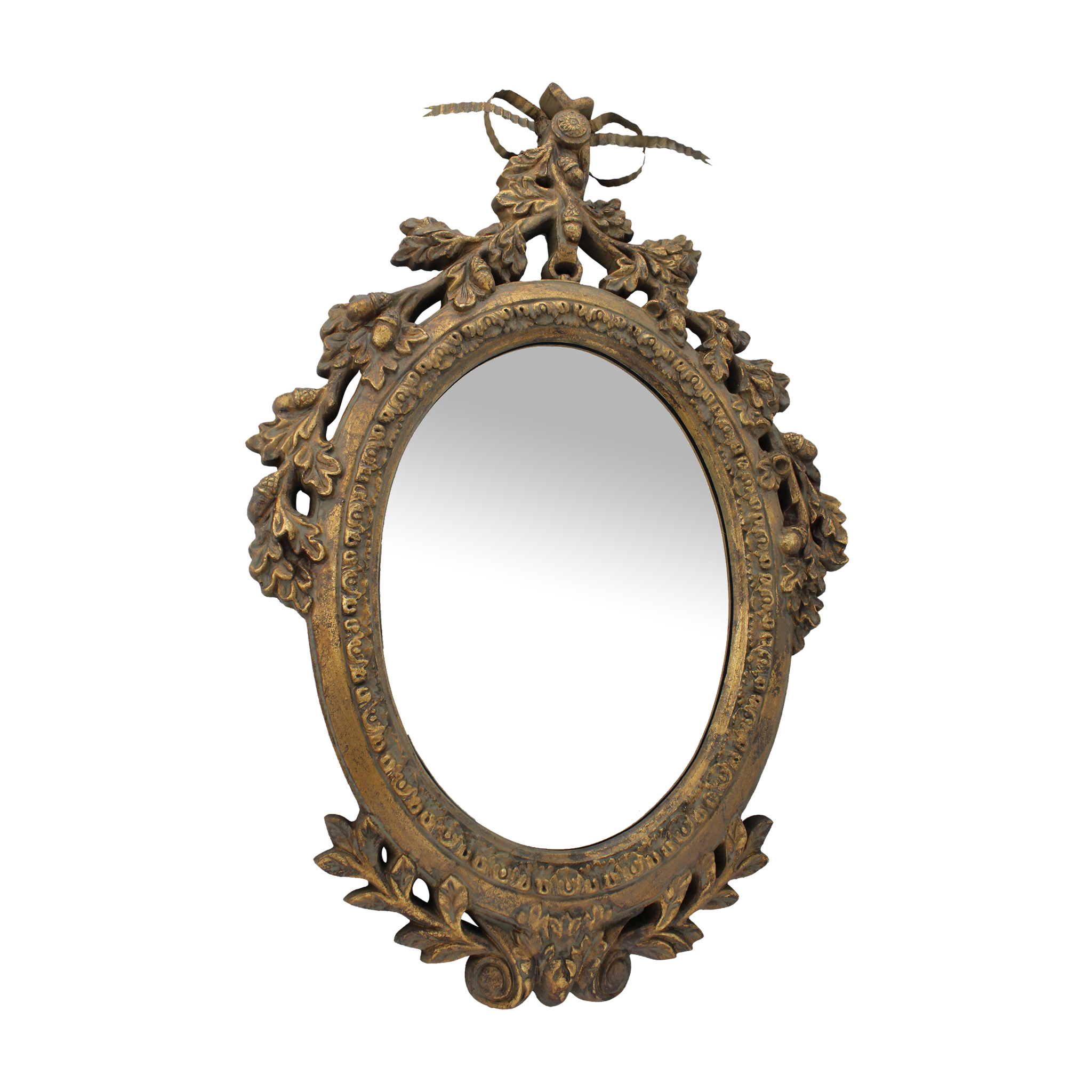 Oglinda Ovala Retro Din Lemn Auriu 60 Cm