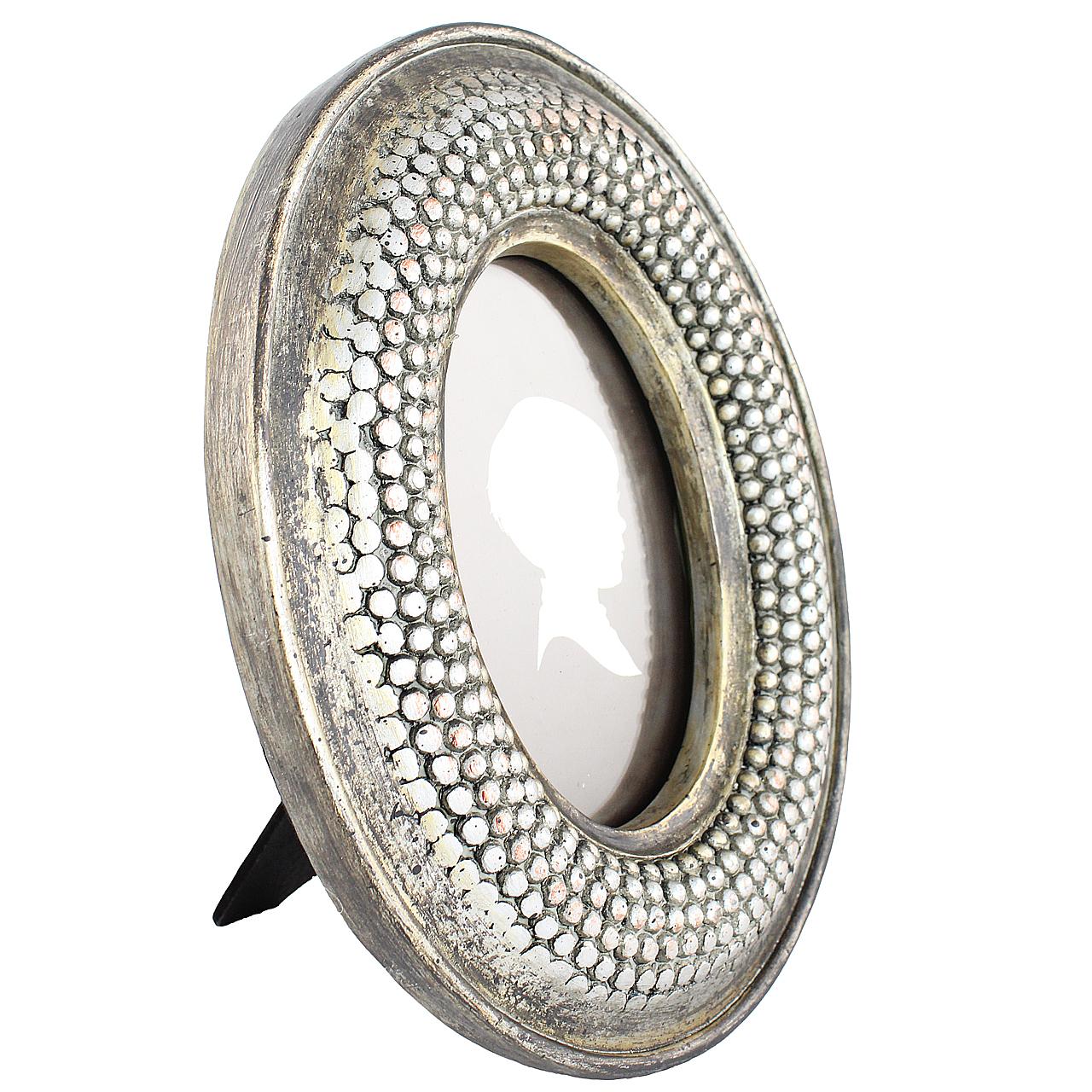 Rama Foto Ovala Din Ceramica Argintie 25x20 Cm