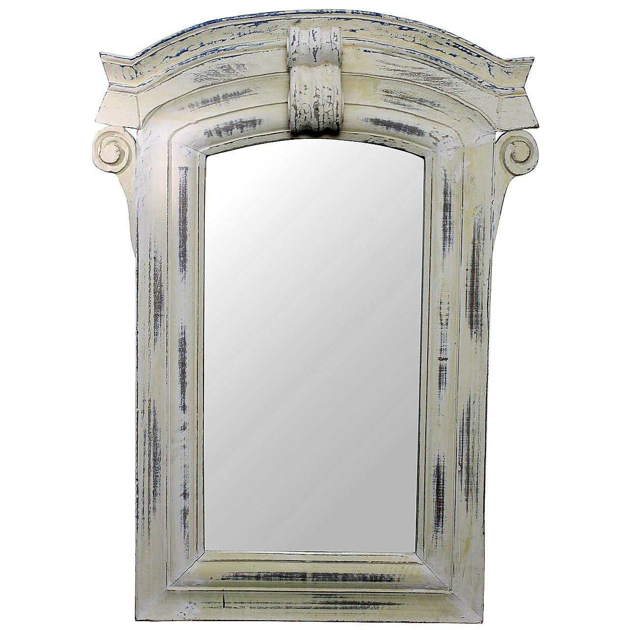 Oglinda Cu Rama Antichizata Din Lemn Alb
