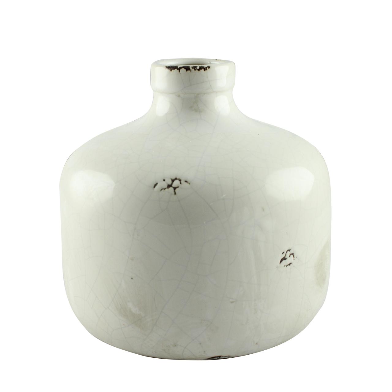 Vaza Decorativa Din Ceramica Alba 18.5 Cm