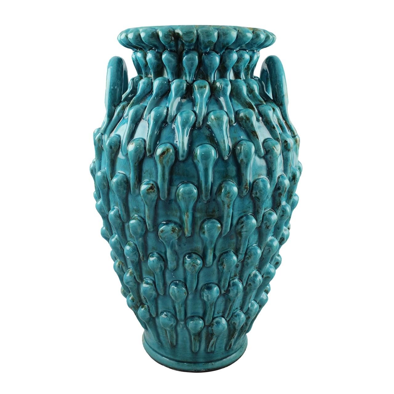 Vaza Cu Toarte Napoli Din Ceramica Turcoaz 47 Cm