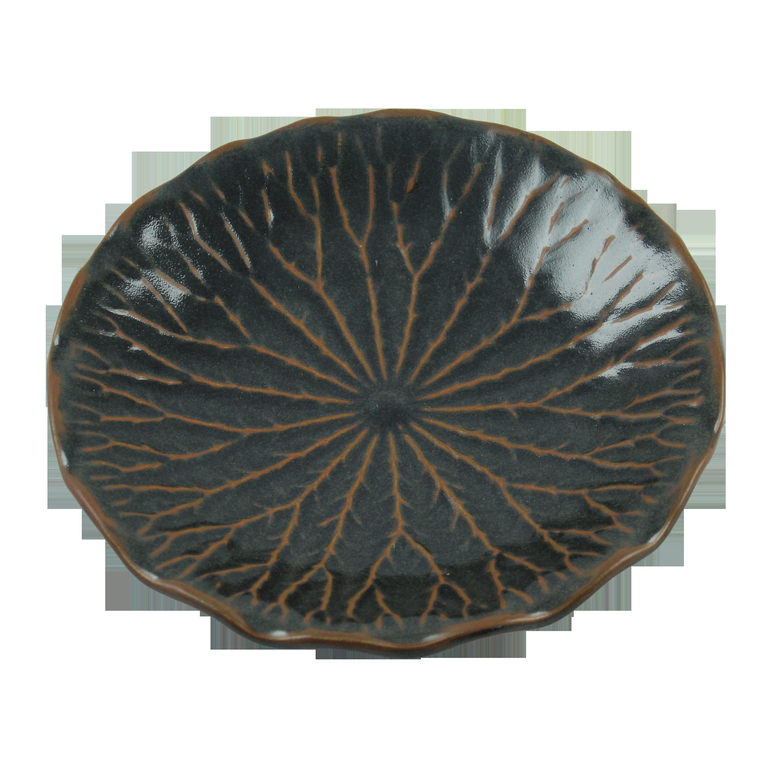 Platou Frunza De Lotus Din Ceramica Neagra 30 Cm