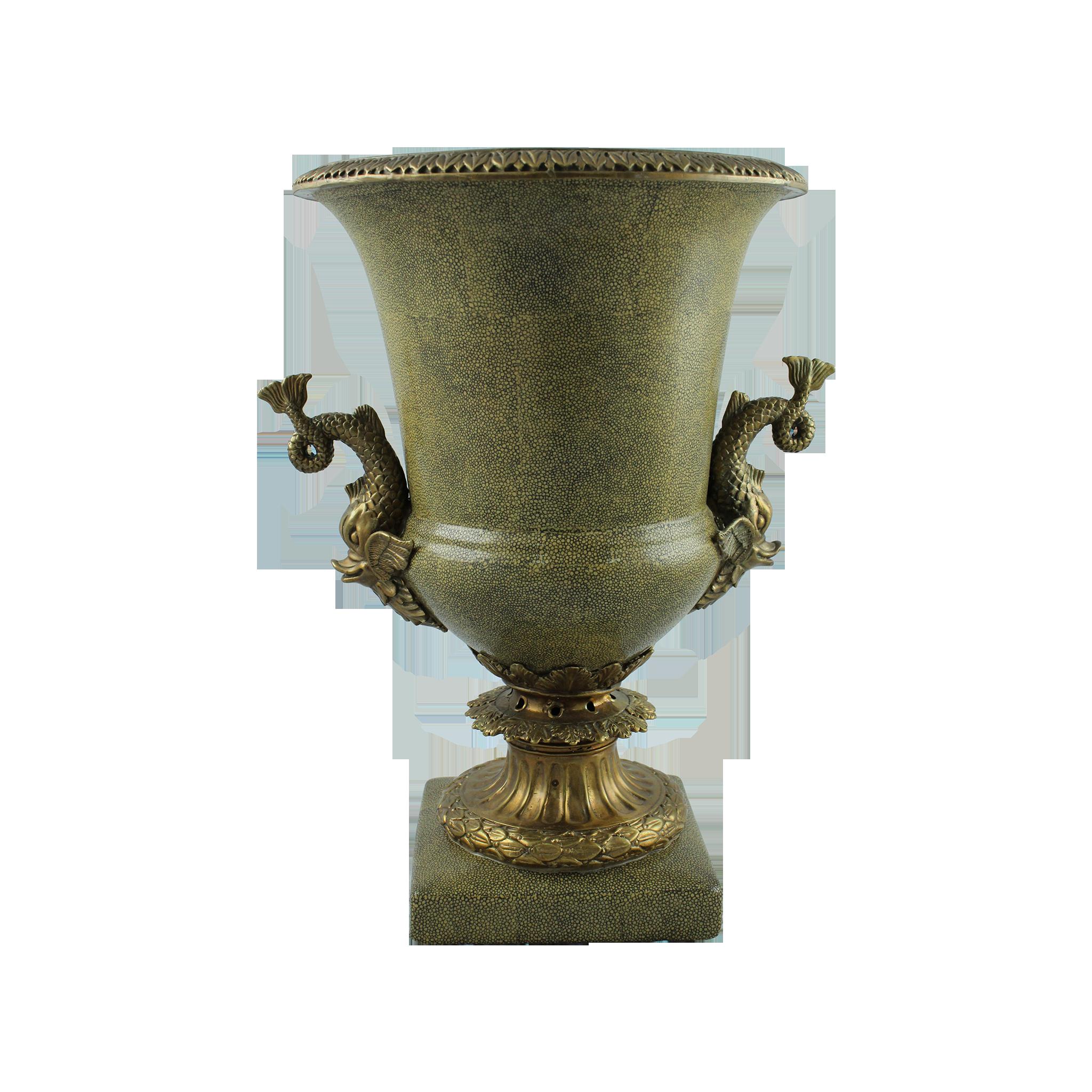 Vaza Din Ceramica Si Metal Cu Toarte Pesti