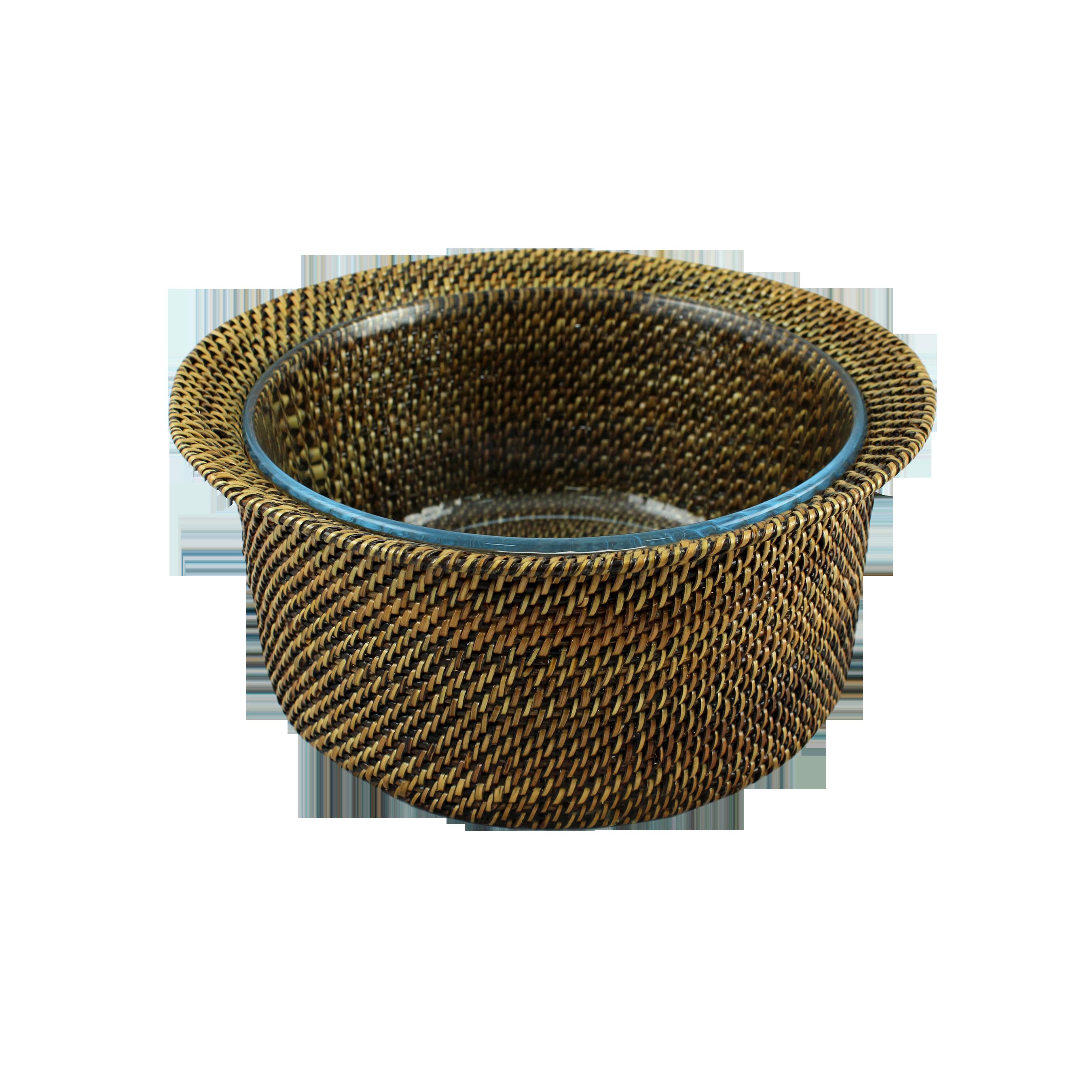 Salatiera Rotunda Din Ratan Si Sticla Pyrex 25 Cm