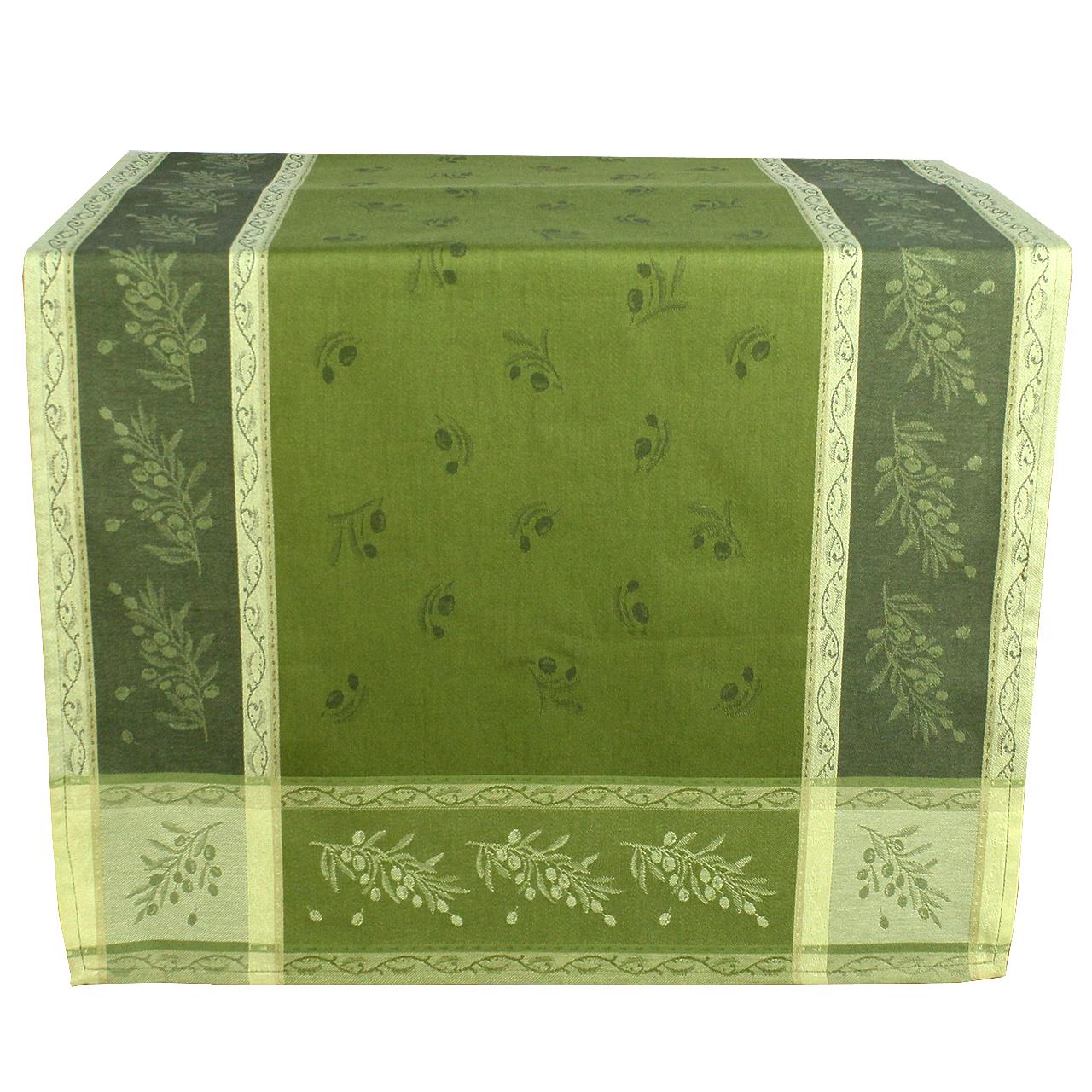 Runner Din Textil Verde Inchis Cu Masline