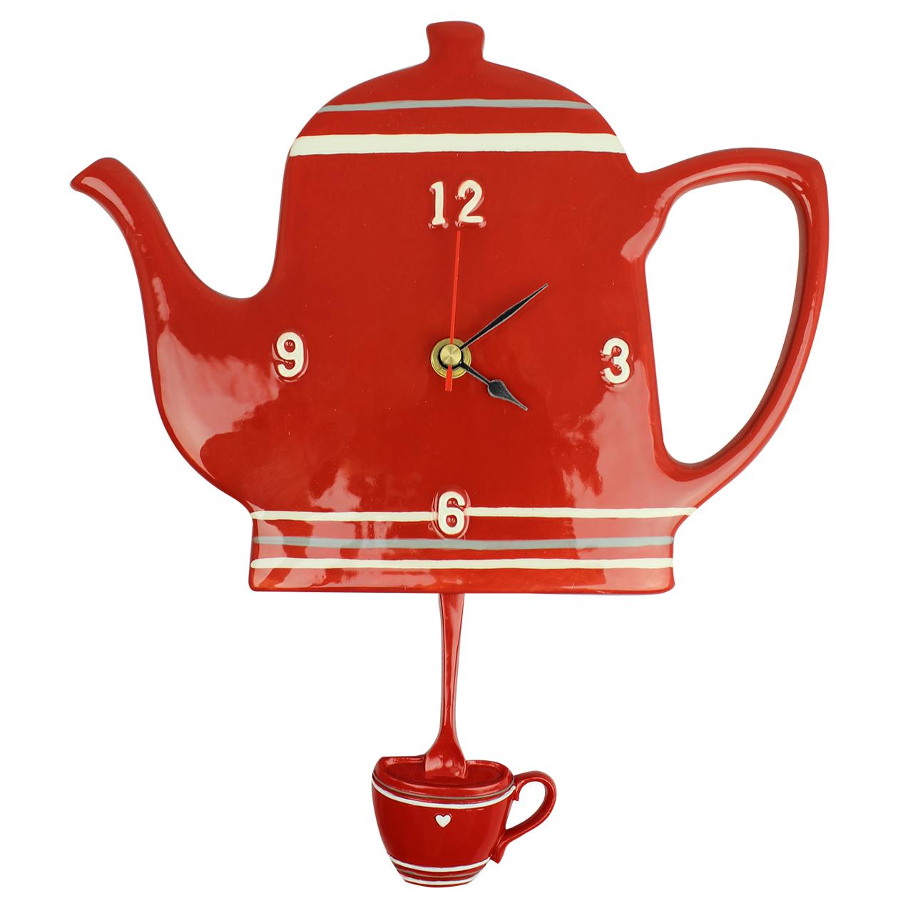 Ceas Ceainic Din Ceramica Rosie