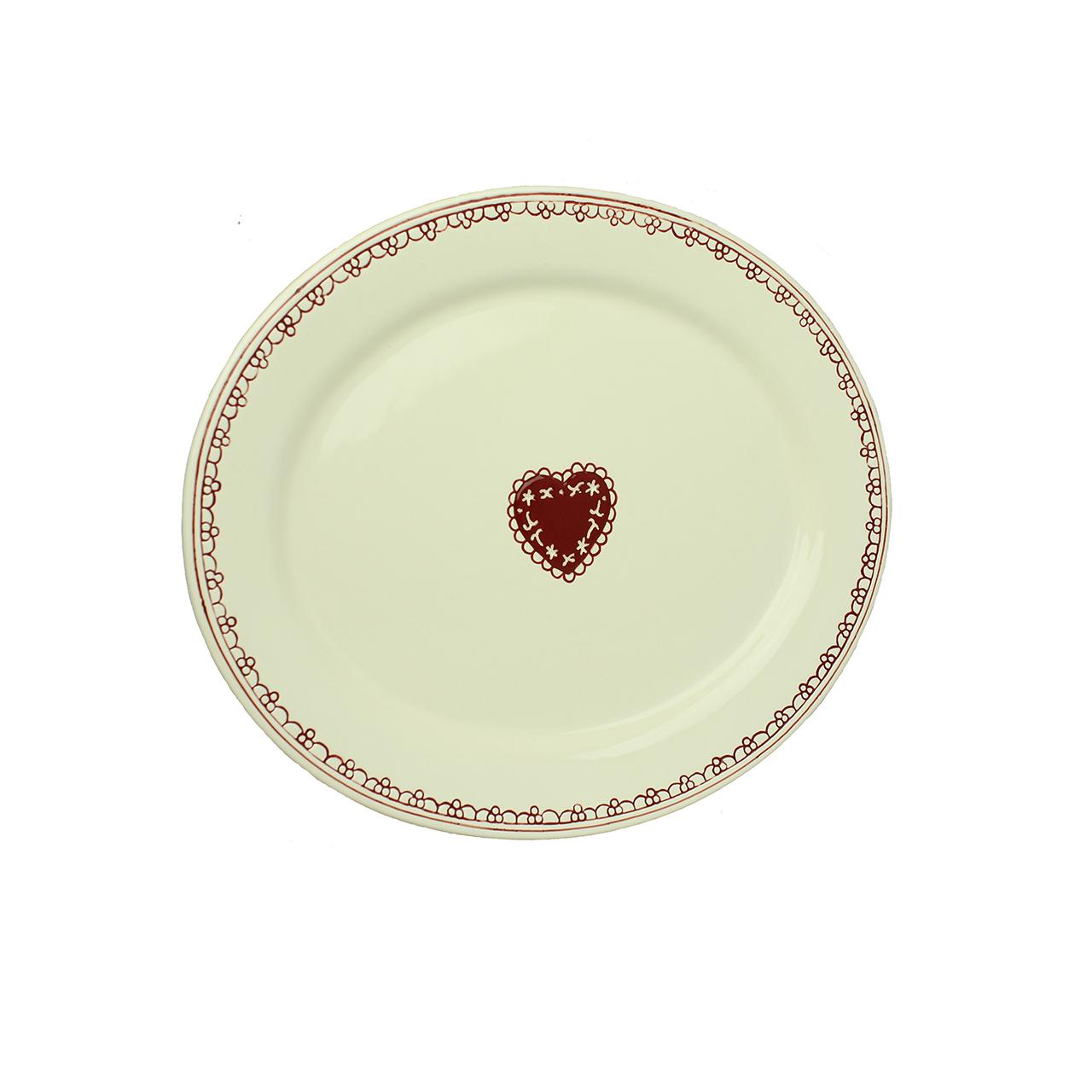 Platou Oval Loving Heart Din Ceramica Bej 33 Cm