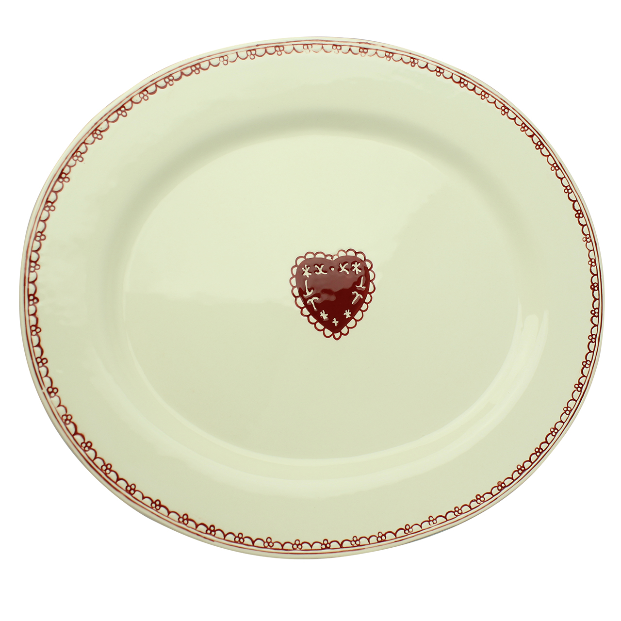 Platou Oval Din Ceramica Bej Cu Visiniu 40 Cm