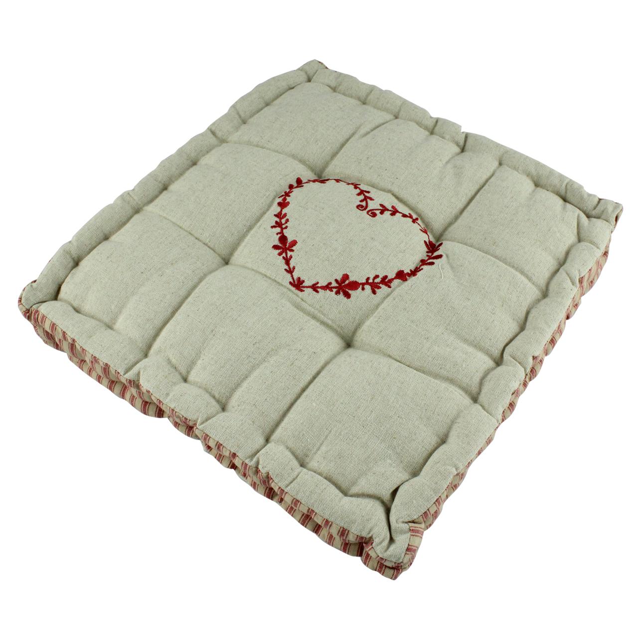 Perna Pentru Scaun Din Bumbac Bej Cu Inima Rosie 35 Cm