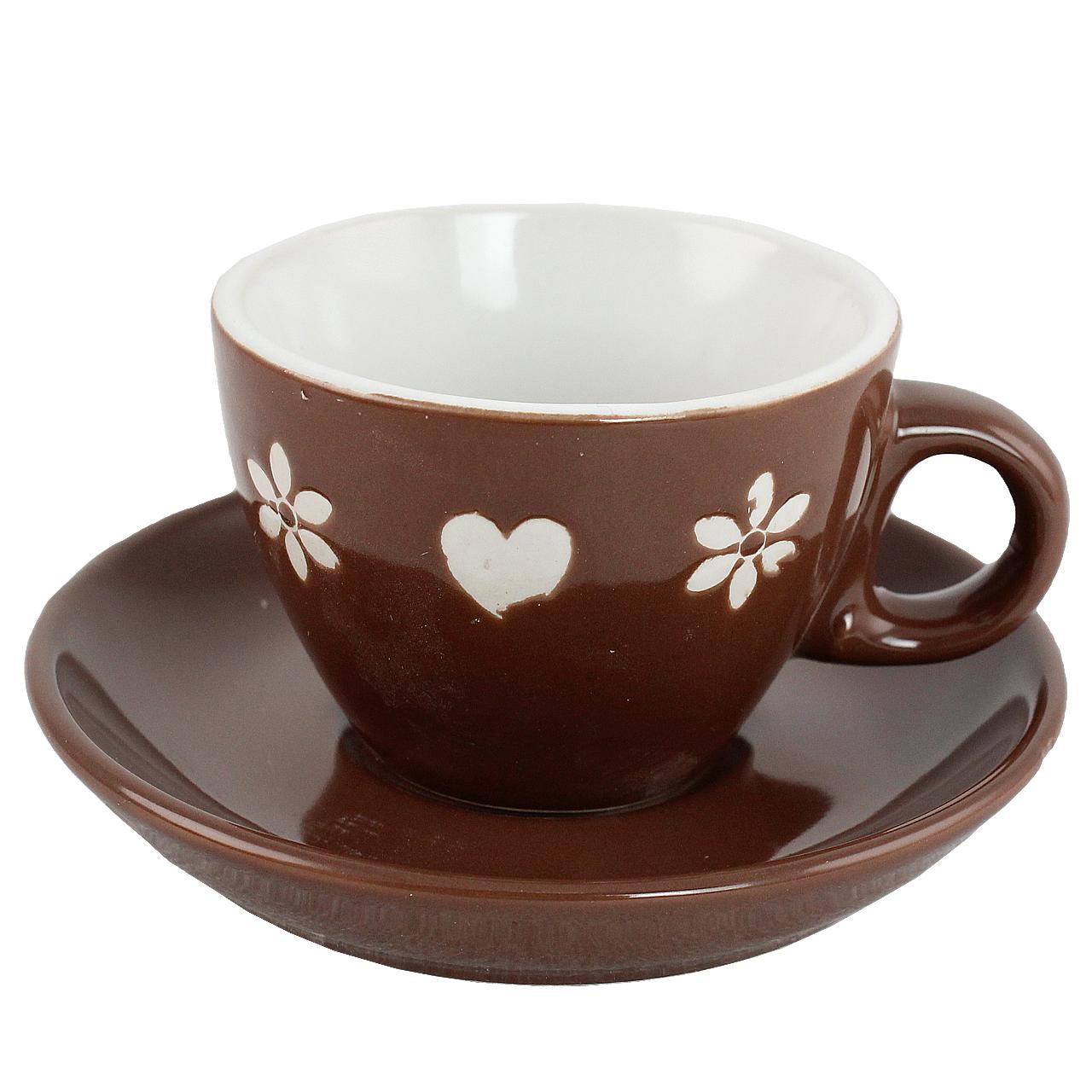 Ceasca Cu Farfurie Cu Inimi Si Flori Din Ceramica Maro