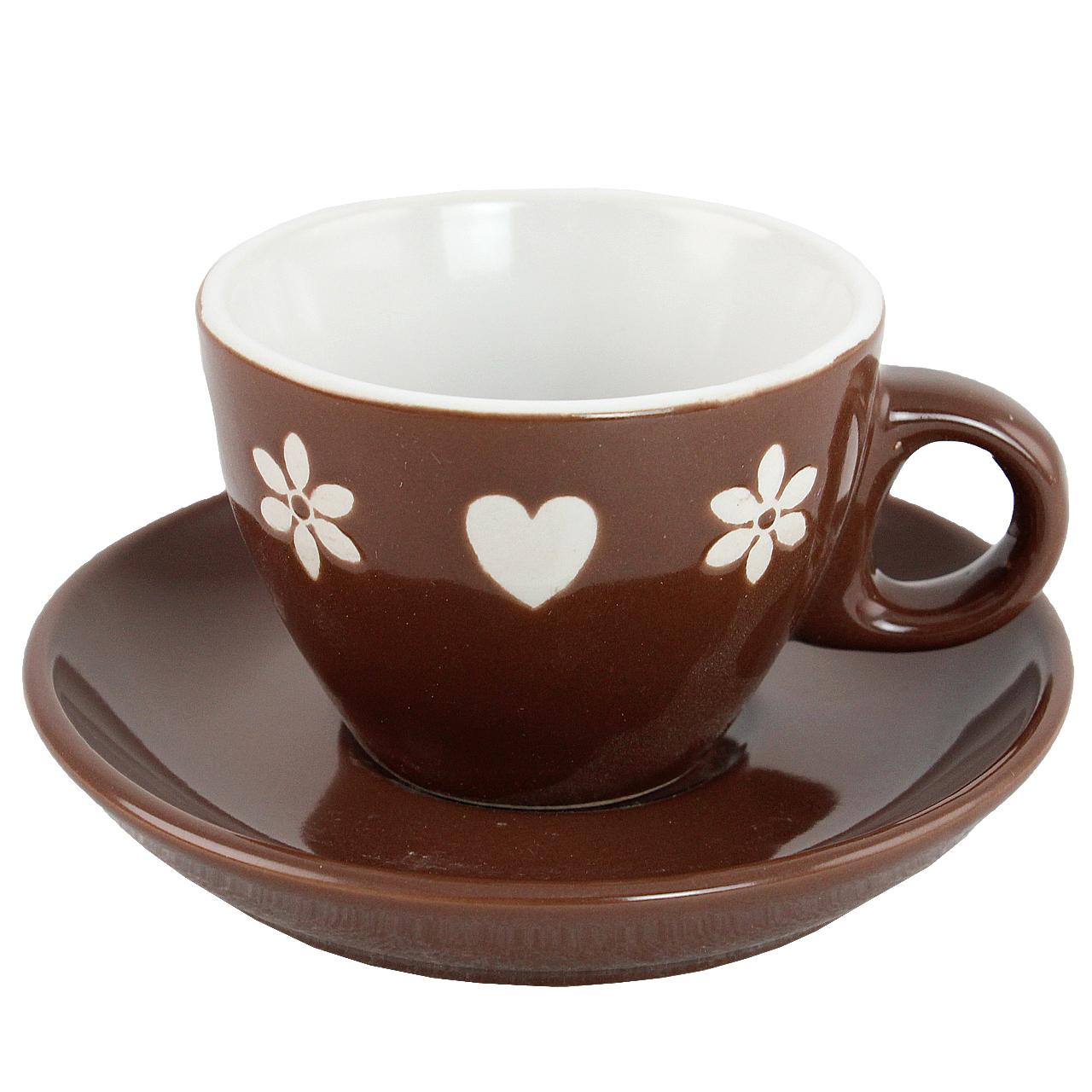 Ceasca Cu Farfurie Cu Inimi Si Flori Din Ceramica Ciocolatie