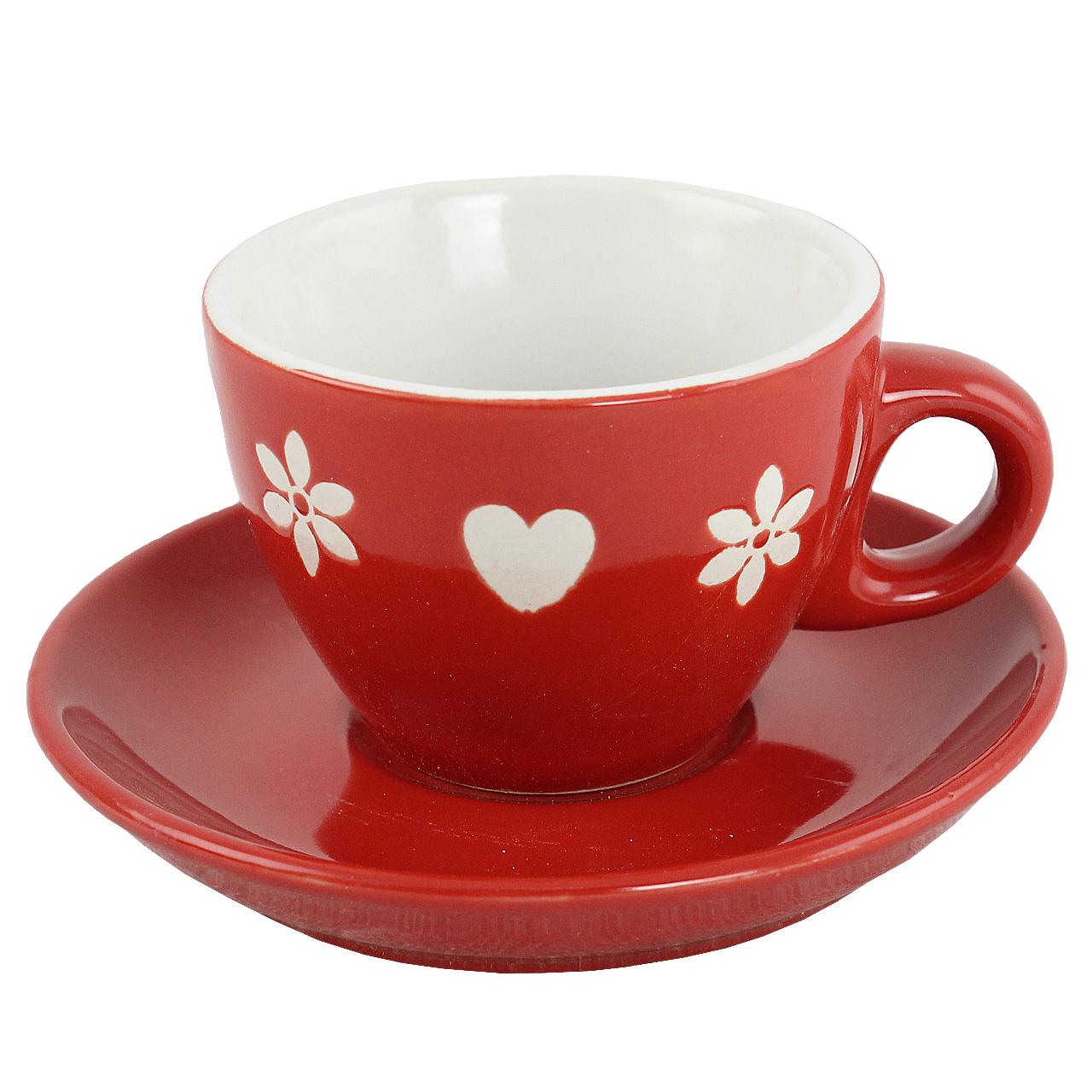 Ceasca Cu Farfurie Din Ceramica Rosie Cu Inimi