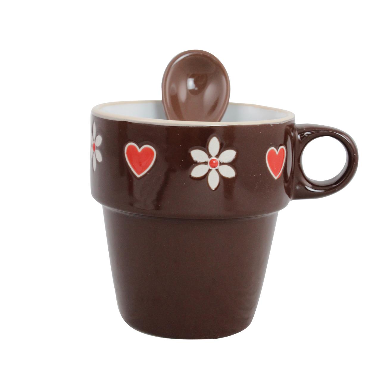 Cana Cu Lingurita Din Ceramica Maro 6 Cm