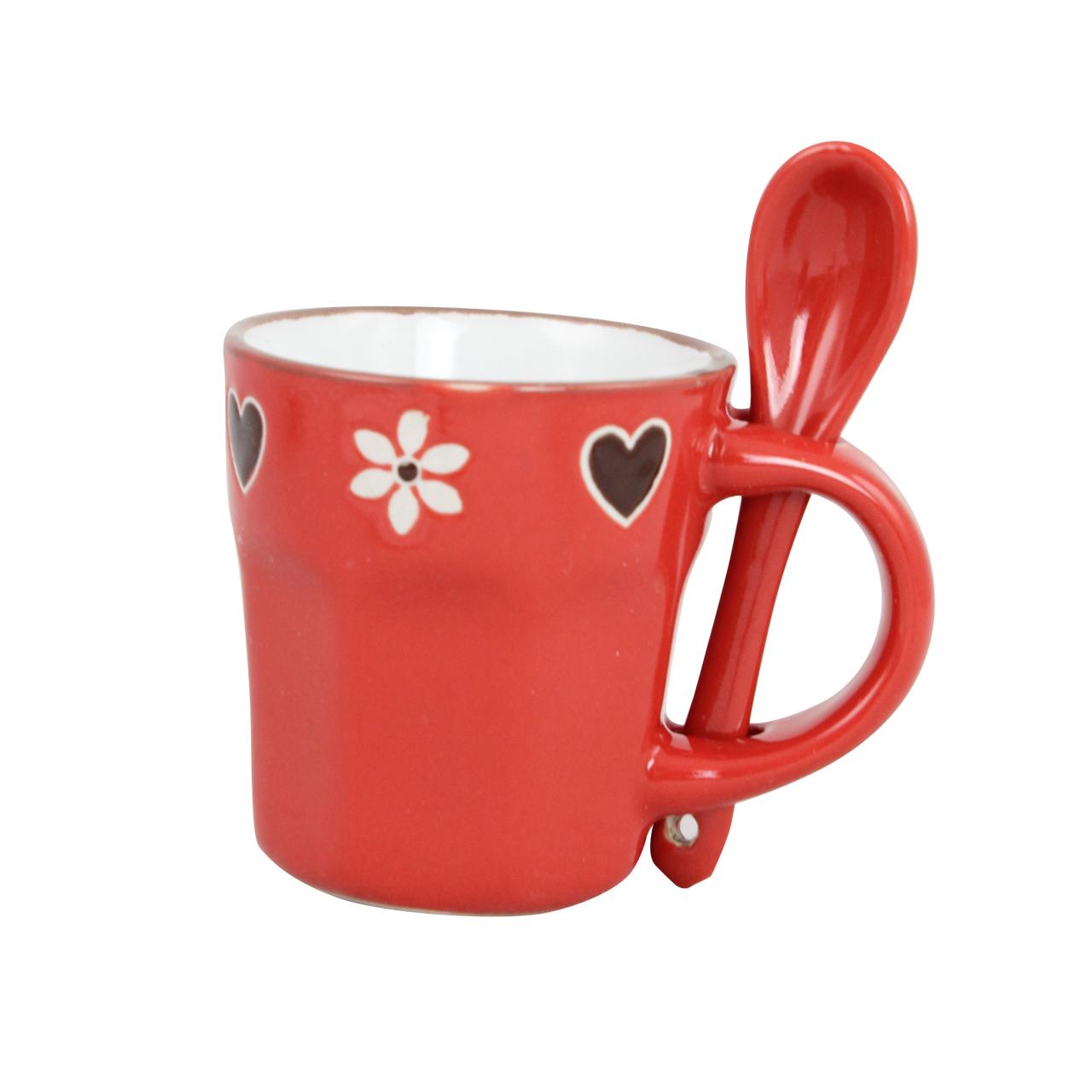 Cana Cu Lingurita Din Ceramica Rosie 6 Cm