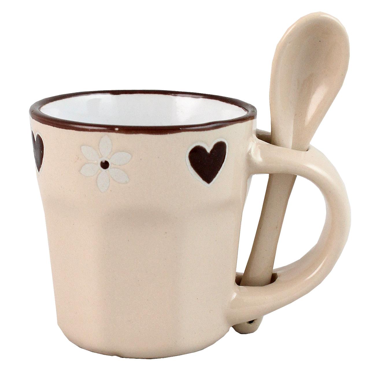 Cana Cu Lingurita Din Ceramica Bej 6 Cm