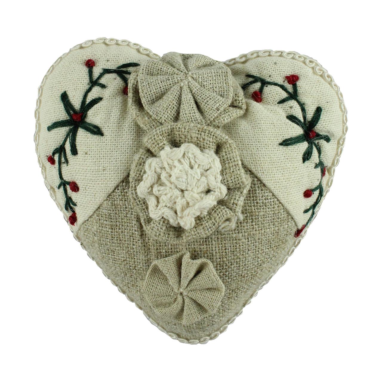 Decoratiune Inima Din Panza Bej