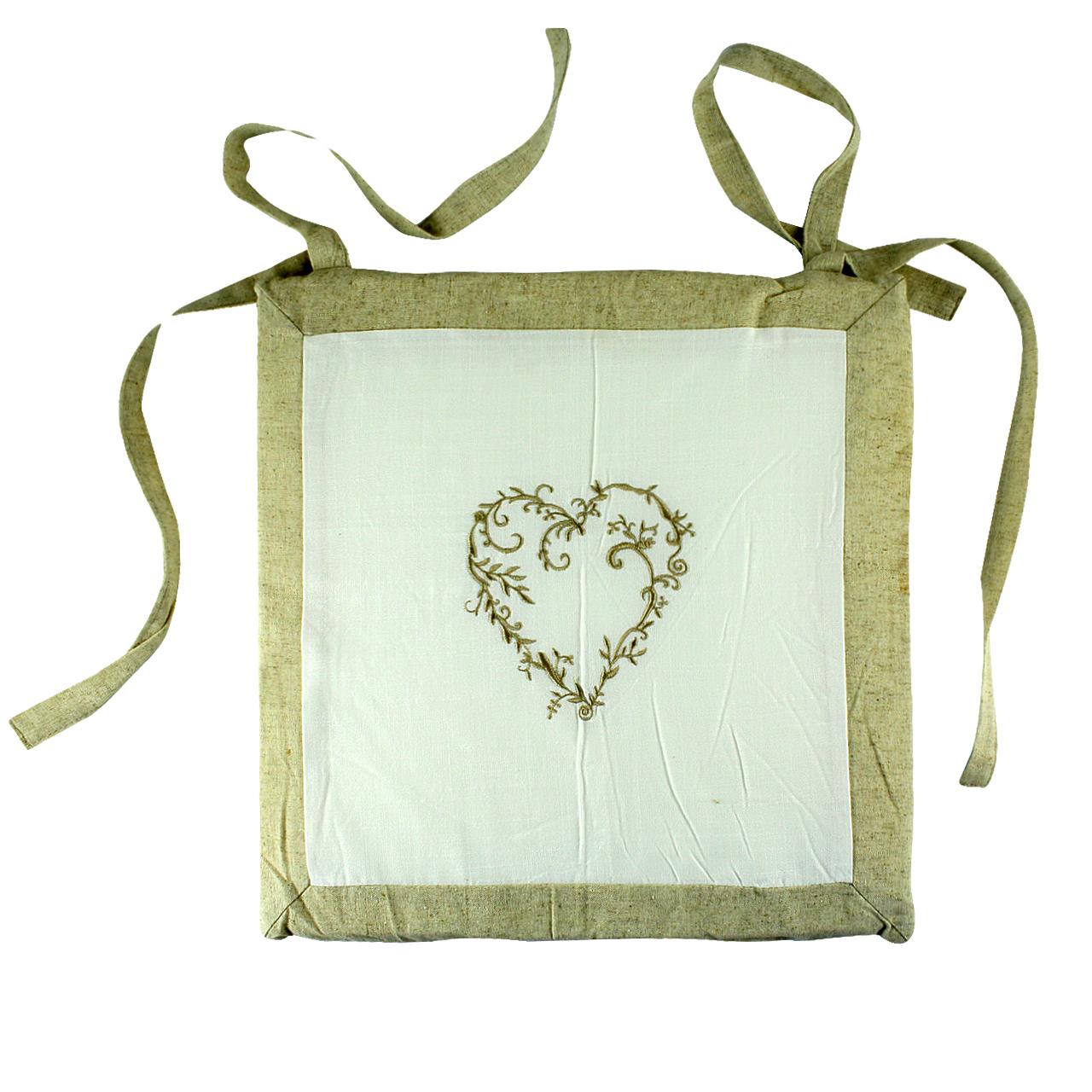 Perna Pentru Scaun Din Textil Alb Cu Inima Crem 40 Cm