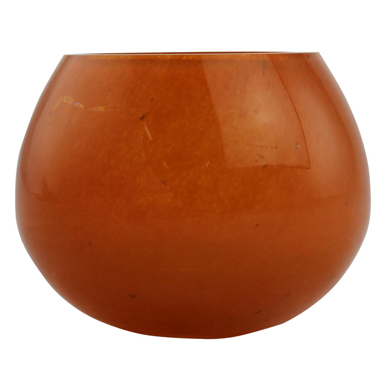 Candela Bombata Din Sticla Portocalie