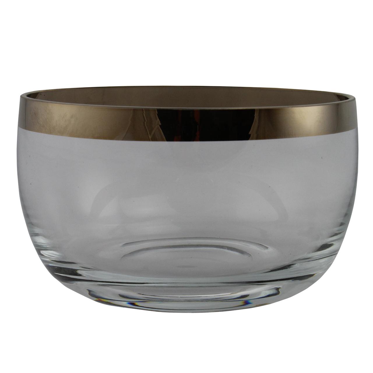 Bol Decorativ Din Sticla Cu Margine Aurie