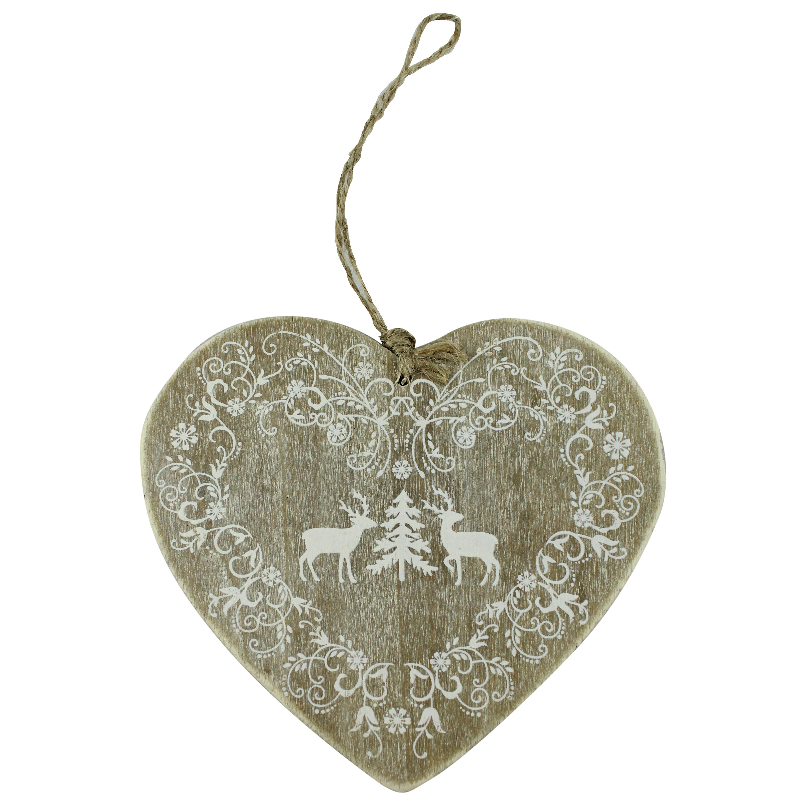 Decoratiune Inima Din Lemn Pictat Cu Alb 13 Cm