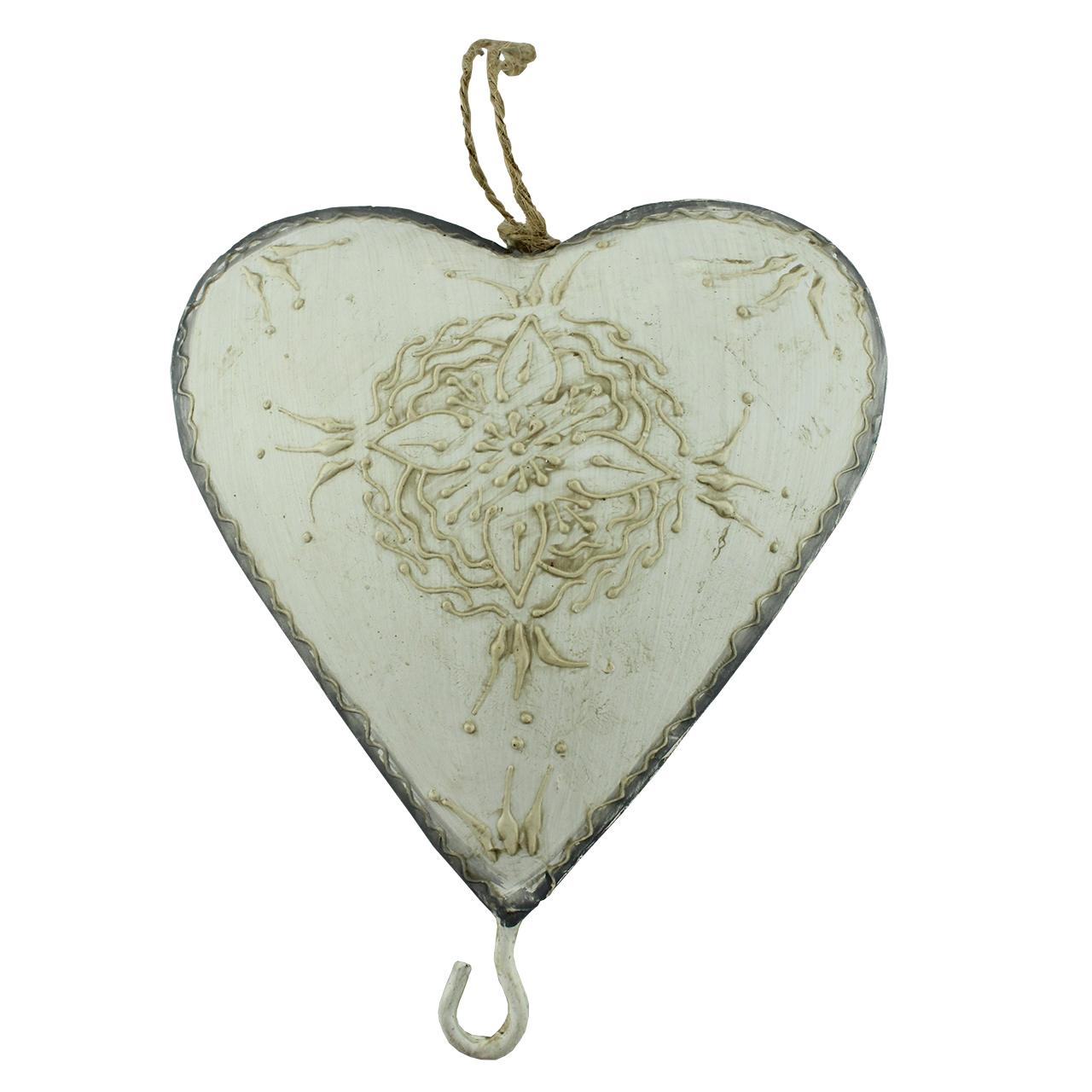 Decoratiune Inima Cu Carlig Din Metal 13 Cm