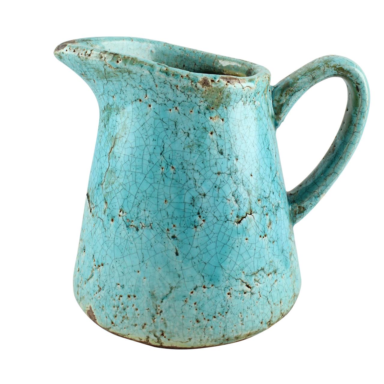 Carafa Rustica Din Ceramica Turcoaz 17.5 Cm